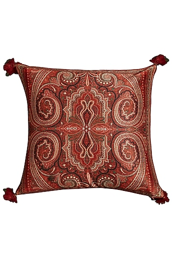 Maroon Jamawar Printed Square Cushion With Filler by Ritu Kumar Home