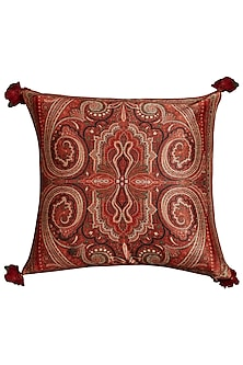 Maroon Jamawar Printed Square Cushion With Filler by Ritu Kumar Home