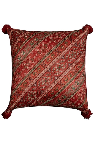 Green Jamawar Printed Square Cushion With Filler by Ritu Kumar Home