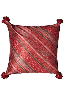 Green Jamawar Printed Square Cushion With Filler by Ritu Kumar Home