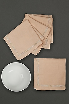 Beige Chidambaram Dinner Napkin (Set of 4) by Ritu Kumar Home