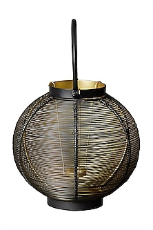 Black Round Wireframe Lantern by Ritu Kumar Home