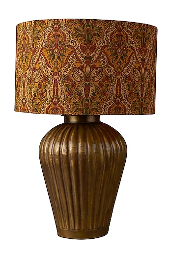 Gold Brass Flicker Lamp Base by Ritu Kumar Home
