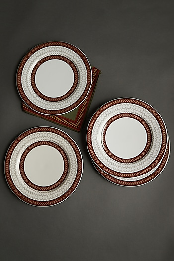 White Baagh Dinner Plate (Set Of 4) by Ritu Kumar Home