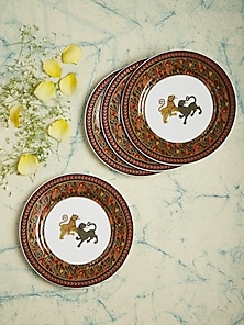Brown Baagh Side Plate (Set Of 4) by Ritu Kumar Home