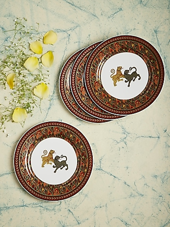 Brown Baagh Side Plate (Set Of 4) by Ritu Kumar Home
