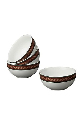 White Baagh Bowl (Set Of 4) by Ritu Kumar Home