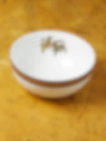 White & Gold Baagh Serving Bowl (Large) by Ritu Kumar Home