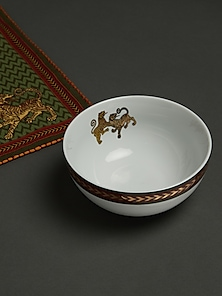 White & Gold Baagh Serving Bowl (Small) by Ritu Kumar Home