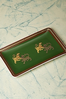 Green & Gold Baagh Serving Platter by Ritu Kumar Home
