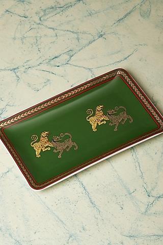 Green & Gold Baagh Serving Platter by Ritu Kumar Home