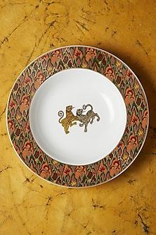 White & Orange Baagh Pasta Plate by Ritu Kumar Home