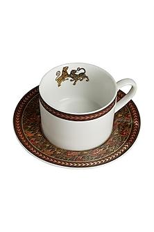 White & Brown Baagh Cup & Saucer (Set Of 4) by Ritu Kumar Home