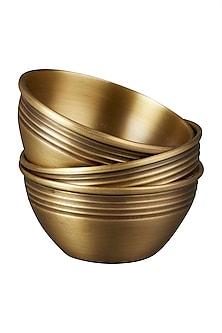 Gold Brassware Round Bowl (Set of 3) by Ritu Kumar Home