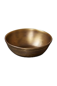 Gold Brassware Round Bowl (Set Of 2) by Ritu Kumar Home