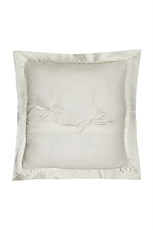 Ivory Chameli Square Cushion With Filler by Ritu Kumar Home