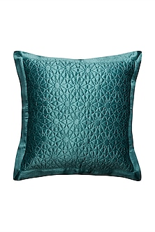 Teal Jal Mahal Square Cushion With Filler by Ritu Kumar Home