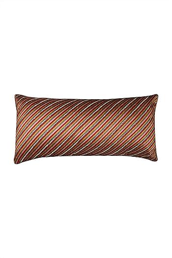 Red Kalamkari Rectangle Cushion With Filler by Ritu Kumar Home