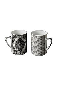 Black & White Awadh Mug (Set Of 2) by Ritu Kumar Home