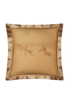Royal Beige Jaamevar Square Cushion With Filler by Ritu Kumar Home