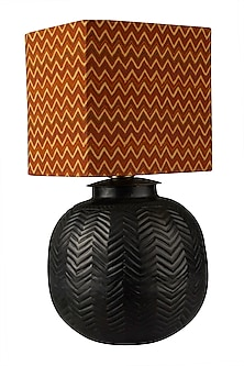 Red & Black Brass Flicker Lamp Base by Ritu Kumar Home