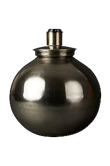 Grey Brass Flicker Lamp Base by Ritu Kumar Home