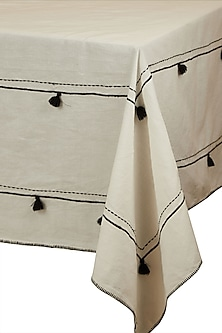 Black & White Awadh Table Cloth by Ritu Kumar Home