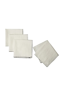 White Awadh Dinner Napkin (Set of 4) by Ritu Kumar Home