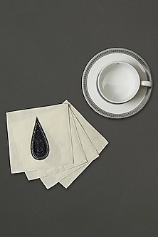 Black & White Awadh Cocktail Napkin (Set of 4) by Ritu Kumar Home