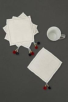 Ivory Chameli Cocktail Napkin (Set of 4) by Ritu Kumar Home