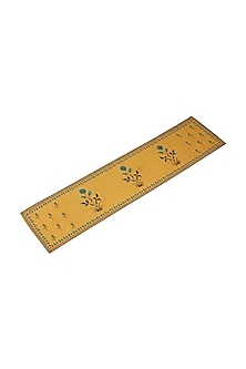 Yellow Jal Mahal Rectangle Table Runner by Ritu Kumar Home
