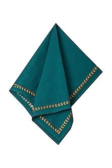 Turquoise Jal Mahal Dinner Napkin (Set of 4) by Ritu Kumar Home