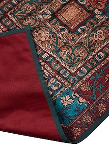 Red Kalamkari Rectangle Table Runner by Ritu Kumar Home
