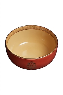 Rust Banki Ceramic Round Serving Bowl (L) by Ritu Kumar Home