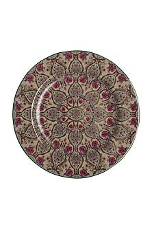 Pink Chidambaram Ceramic Round Charger Plate by Ritu Kumar Home