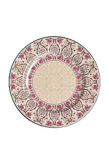 Pink Chidambaram Ceramic Round Dinner Plate (Set of 4) by Ritu Kumar Home