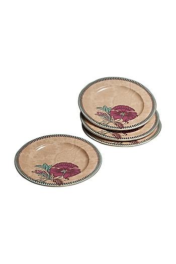 Pink Chidambaram Ceramic Round Side Plate (Set of 4) by Ritu Kumar Home