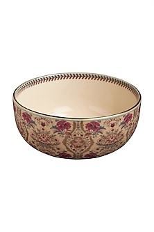 Pink Chidambaram Ceramic Round Serving Bowl (L) by Ritu Kumar Home
