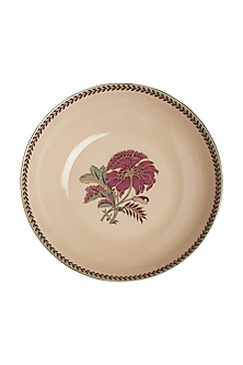 Pink Chidambaram Ceramic Round Serving Bowl (S) by Ritu Kumar Home