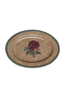 Pink Chidambaram Ceramic Oval Platter (L) by Ritu Kumar Home