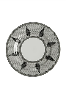 Black & White Awadh Porcelain Round Dinner Plate (Set of 4) by Ritu Kumar Home
