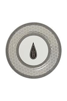 Black & White Awadh Porcelain Round Side Plate (Set of 4) by Ritu Kumar Home