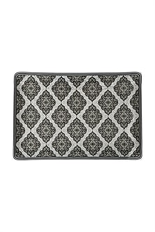 Black & White Awadh Porcelain Rectangle Platter (L) by Ritu Kumar Home