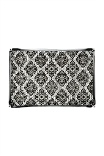 Black & White Awadh Porcelain Rectangle Platter (L) by Ritu Kumar Home