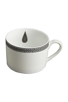 Black & White Awadh Porcelain Cup & Saucer (Set of 8) by Ritu Kumar Home
