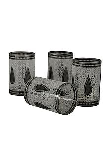 Black & White Awadh Cylinder Glass (Set of 4) by Ritu Kumar Home