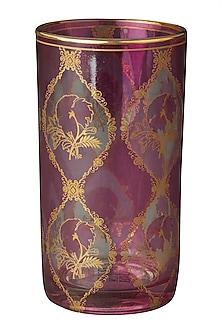 Purple & Gold Chidambaram Cylinder Glass (Set of 4) by Ritu Kumar Home