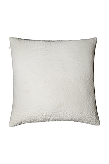 Ivory Awadh Square Cushion With Filler by Ritu Kumar Home