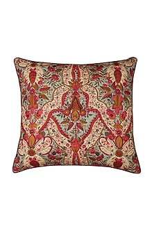 Pink Chidambaram Square Cushion With Filler by Ritu Kumar Home