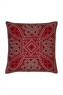 Rust Chameli Square Cushion With Filler by Ritu Kumar Home